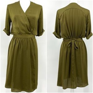 Topshop Khaki Green V Neck Silky Wrap Dress 6